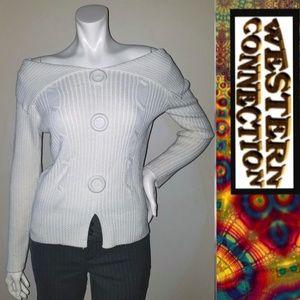 Vintage lk New Condition Off Shoulder Vent Sweater